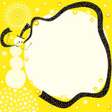 Sun Snowman yellow border frame Royalty Free Stock Images