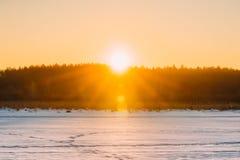 Sun sobre el cielo de Forest Horizon With Orange Sunset Colores naturales O Imágenes de archivo libres de regalías