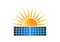 Sun Solar Dual Panel Logo Clipart Vector Illustration. In white background Royalty Free Stock Image