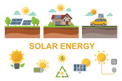 Sun solar energy power electricity technology vector. Royalty Free Stock Images