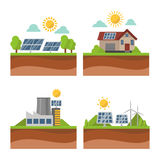 Sun solar energy power electricity technology vector. Stock Image