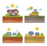 Sun solar energy vector set. Vector sun solar energy icon set. Sun solar energy symbols electricity technology renewable ecology. Industrial clean electrical Royalty Free Stock Images