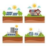 Sun solar energy vector set. Vector sun solar energy icon set. Sun solar energy symbols electricity technology renewable ecology. Industrial clean electrical Stock Photography