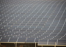 Sun Solar Industrial Plant Closeup with Fence Stock Photography