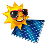 Sun With Solar Panel. Sun character with solar panel as an icon of green renewable electricity from the sky and being off the grid as money saving and ecological Stock Photos