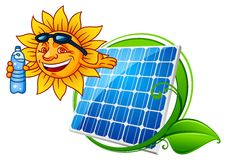 Sun and solar panel. Cartoon sun with water bottle and solar panel with green frame Royalty Free Stock Image