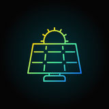 Sun and solar panel colorful icon. Vector solar energy concept outline sign or logo element on dark background Stock Images