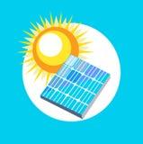 Sun and solar panel flat design Stock Image