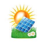 Sun and solar panel on grass isolated on white. Background Stock Photo