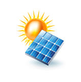 Sun and solar panel icon isolated on white Stock Image