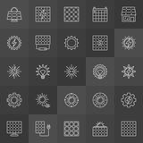 Sun and solar panel icons. Vector collection of solar energy outline symbols on dark background Stock Photo