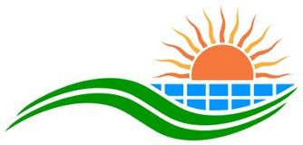 Sun and solar panel logo Stock Photos