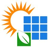 Sun and solar panel logo. Simple illustration of sun and solar panel logo. power solution and green energy concept Stock Image