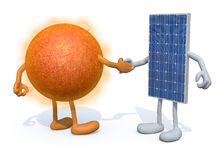 Sun and solar panel shake hands. A the sun and the solar panel with arms and legs shake hands, 3d illustration Stock Images