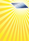 Sun and solar panel template. Illustration of solar panels and sun rays for use as a template Royalty Free Stock Photo