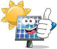 Sun solar panel thumb up. Sun and solar panel thumb up Royalty Free Stock Image