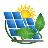 Sun and solar panels eco Royalty Free Stock Image