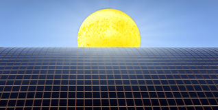 Sun and solar panels Royalty Free Stock Photography