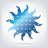 Sun with solar panels texture Stock Images