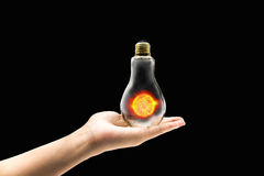 Sun solar power energy concept idea in isolated background Royalty Free Stock Images