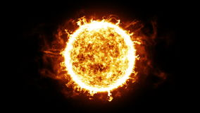 Sun with Solar protuberances and explosions. HD 1080. Looped animation