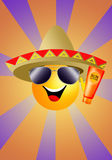 Sun with sombrero and sun lotion Royalty Free Stock Image