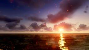 Sun-Sonnenuntergang in Meer raster 6 Lizenzfreies Stockfoto