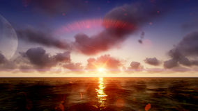 Sun-Sonnenuntergang in Meer raster 5 Stockfotos