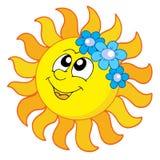 Sun sonriente con las flores Foto de archivo libre de regalías