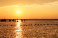 Sun sopra acqua con gli accatastamenti e le nuvole Fotografie Stock