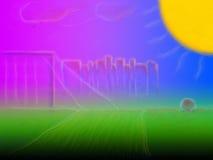 Sun sopra il campo Fotografie Stock