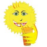 Sun sorridente che beve succo d'arancia illustrazione di stock