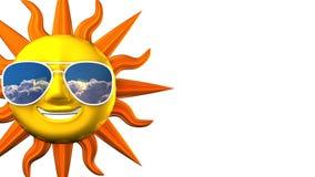 Sun sorridente con gli occhiali da sole sullo spazio bianco del testo illustrazione vettoriale