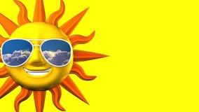 Sun sorridente con gli occhiali da sole sullo spazio del testo giallo royalty illustrazione gratis
