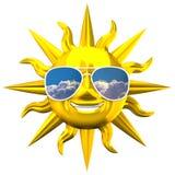 Sun sorridente dorato con gli occhiali da sole Fotografie Stock
