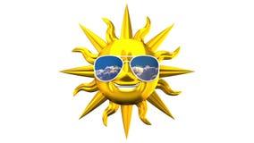 Sun sorridente dorato con gli occhiali da sole su fondo bianco royalty illustrazione gratis