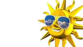 Sun sorridente dorato con gli occhiali da sole sullo spazio bianco del testo illustrazione di stock