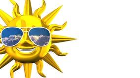 Sun sorridente dorato con gli occhiali da sole sullo spazio bianco del testo illustrazione vettoriale