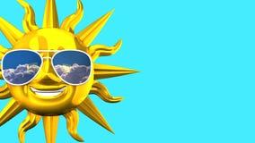 Sun sorridente dorato con gli occhiali da sole sullo spazio blu del testo royalty illustrazione gratis