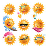Sun sourit des icônes de vecteur de visages d'émoticônes de bande dessinée de vacances de vacances d'été réglées illustration stock