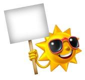 Sun-Spaß-Maskottchen-Zeichen Lizenzfreie Stockfotografie