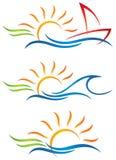 Sun-Spaß-Logo Lizenzfreie Stockbilder