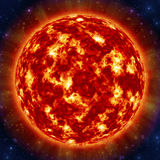 Sun in space. Sun in the space against stars Stock Photos