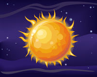 Sun in Space Background. Sun in space star background. Bright and hot orange sun. Element of solar system. Cosmic galaxy background with bright shining stars Royalty Free Stock Photography