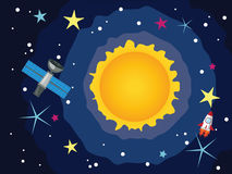 Sun in the Space. Space background with the Sun and stars Stock Photo