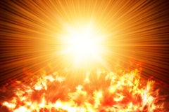 Sun in space. The Sun shining in the space. Aerial  view Royalty Free Stock Photo