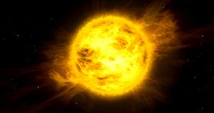 Sun in space. Solar storm in space. Concept of hot orange and yellow sun with energy clouds with stars in background Stock Photo