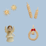 Sun, spiral, angel and wreath with bell Stock Photos