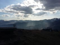Sun spot in mountain royalty free stock photo