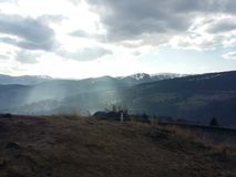 Sun spot in mountain Royalty Free Stock Image